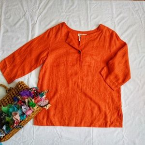 Coldwater Creek Orange 3/4 Sleeve Linen Tunic